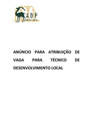 ANÚNCIO PARA ATRIBUIÇÃO DE VAGA PARA TÉCNICO DE DESENVOLVIMENTO LOCAL