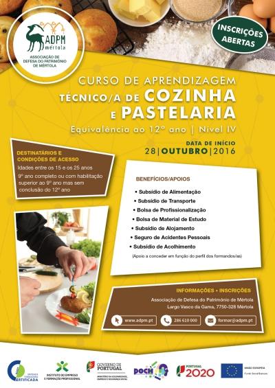 ADPM PROMOVE CURSO DE TÉCNICO(A) COZINHA/PASTELARIA EM MÉRTOLA
