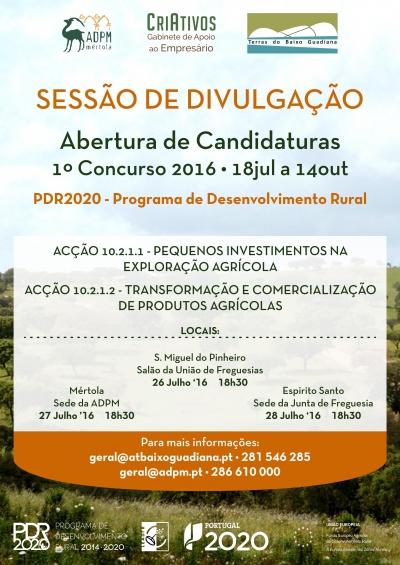 PDR2020: SESSÕES DE DIVULGAÇÃO NO CONCELHO DE MÉRTOLA SOBRE INVESTIMENTOS NA AGRICULTURA